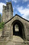 Stock Image : Heptonstall-church-door-arch-tower
