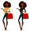 Stock Image :  Het Afrikaanse Amerikaanse meisje winkelen