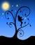 Stock Image :  Het feesilhouet met bloeit