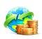 Stock Image : Het globale concept van de geldoverdracht
