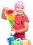Stock Image : Het jonge meisje is gekleed als schoonmakend meisje