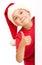 Stock Image :  Het meisje in santahoed houdt lege raad