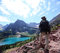Stock Image : Hiker on Grinnell Glacier Trail