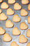 Stock Image : Home made heart shaped cookies on baking tray