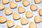 Stock Image : Home made shortbread heart shaped cookies on baking tray