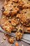 Stock Image : Homemade oatmeal cookies with seeds and raisin