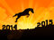 Stock Image : Hore jumps from year 2014 to new year 2015