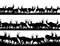 Stock Image : Horizontal banner silhouettes of herd of antelope in African sav