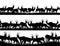 Stock Image : Horizontal banner silhouettes of herd of antelope in African sav