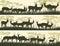 Stock Image : Horizontal banners of wild antelope in African savanna.