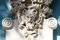 Stock Image : Horned head of Satyr,old house decoration,greek mythology