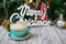 Hot Coffee cup on vintage table /Christmas holidays background