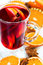 Stock Image : Hot mulled wine with orange slices