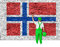 Stock Image : House painter covers wall with flag of Norway
