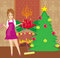 Stock Image : Housewife cleaning house before Christmas