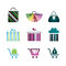Stock Image : Icons of gift boxes, shopping icons, shopping carts, bags.