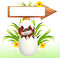 Stock Image : Illustration of Cute Easter Bunny with wooden sign