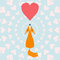 Illustration with funny cartoon geometric ginger fox and hearts for use in design for aalentines day or wedding greeting card
