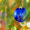 Stock Image : Image of blue Christmas ball on a green background