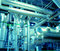 Stock Image : Industrial Steel pipelines in blue tones
