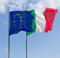 Stock Image : Italy and Europe Flags