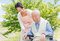 Stock Image : Japanese caregivers and senior in the field caregiver