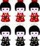 Stock Image : Japanese geisha wooden dolls expressions