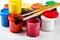 Stock Image : Jars of gouache and brush