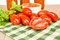 Stock Image : Jars of sauce with paste tomatoes and basil