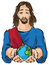 Stock Image : Jesus holding the hands planet Earth