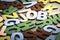 Stock Image : Job wood letters