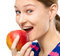 Stock Image :  Jong gelukkig meisje met appel