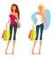 Stock Image :  Jong meisje in de zomerkleren, het winkelen