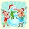 Stock Image :  Jonge geitjes die Sneeuwman bouwen voor Kerstmis