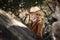 Stock Image : Jongen in cowboyuitrusting