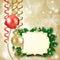 Stock Image :  Kerstmisachtergrond met snuisterijen en etiket