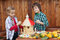 Stock Image : Kids painting a bird house