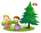 Stock Image : Kids playing with the bouncing balloons near the pine tree