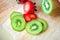 Stock Image : Kiwi fruit and strawberry