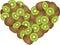 Stock Image : Kiwi Heart Shaped
