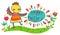 Stock Image : Kleurrijke gelukkige Pasen geïllustreerde kaart