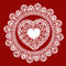 Stock Image : Lace heart on red background
