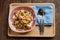 Stock Image : Larb Tuna, tuna spicy salad on a wooden tray