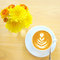 Stock Image : Latte or cappuccino coffee with flower