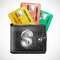 Stock Image : Leather wallet  with credit cards and dollars USA