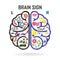 Stock Image : Left and right brain symbol,creativity sign,busine