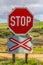 Stock Image : Level crossing warning sign