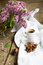 Stock Image : Lilac flowers and coffee