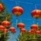Stock Image :  Linterna roja en templo chino