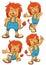 Stock Image : Lion cartoon set